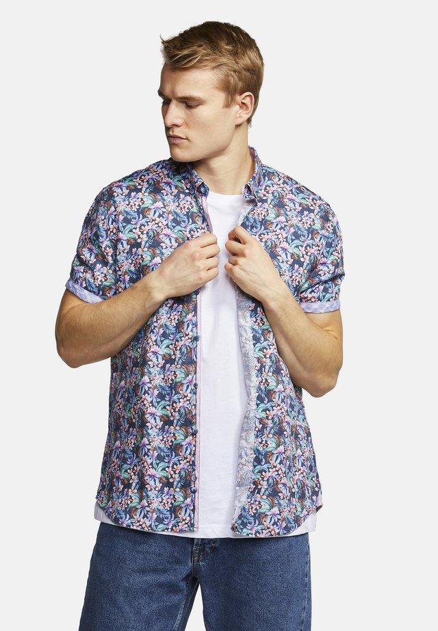 KURZARMHEMD FLOWER-PRINT SHORTY - Shirt - blue