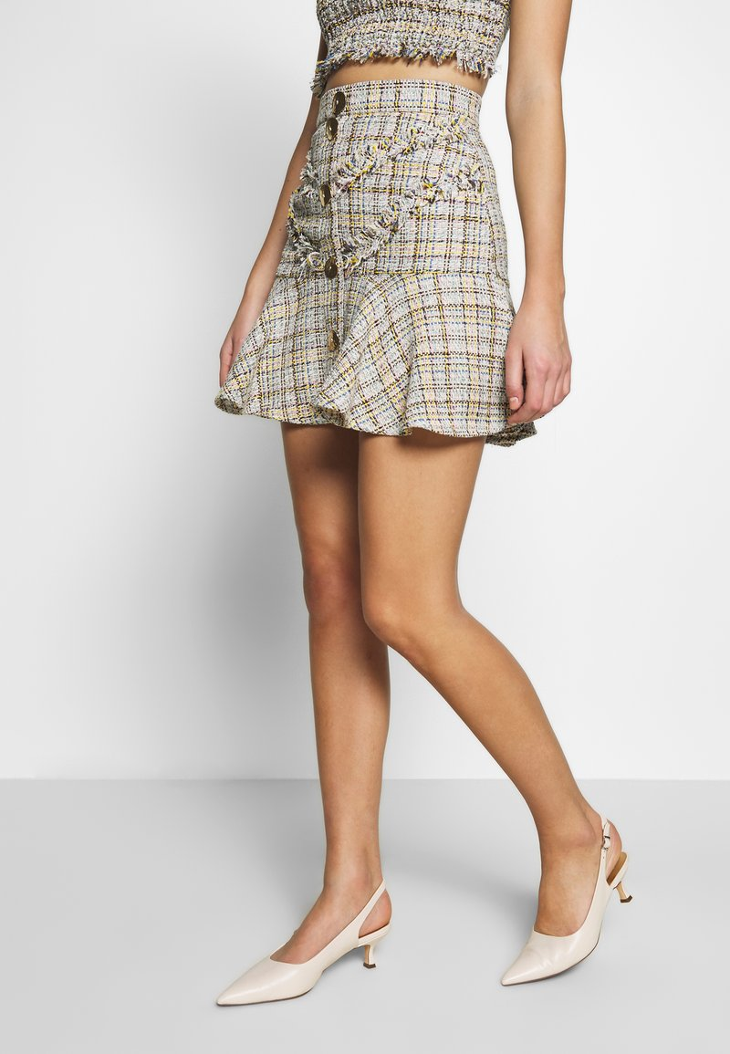 CMEO COLLECTIVE - FOR YOU LOVE SKIRT - Mini skirt - ivory tweed