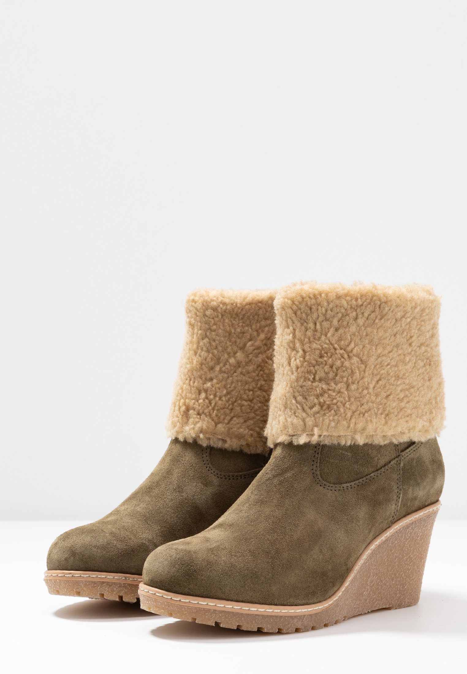 Cream TERESE WEDGE BOOT - Ankelstøvler - sea green