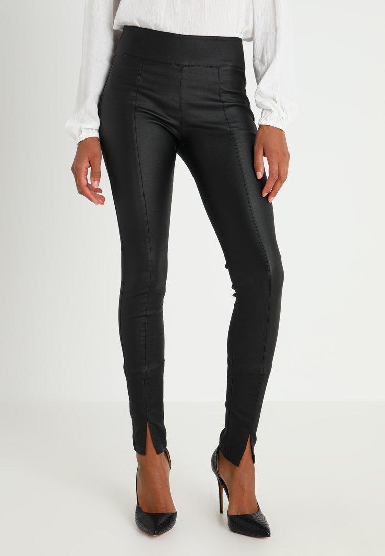 Cream - BELUS SLIT PANTS KATY ANKLE - Leggings - pitch black