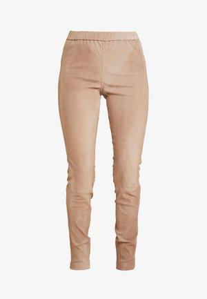 BEATRICECR - Leather trousers - portabella
