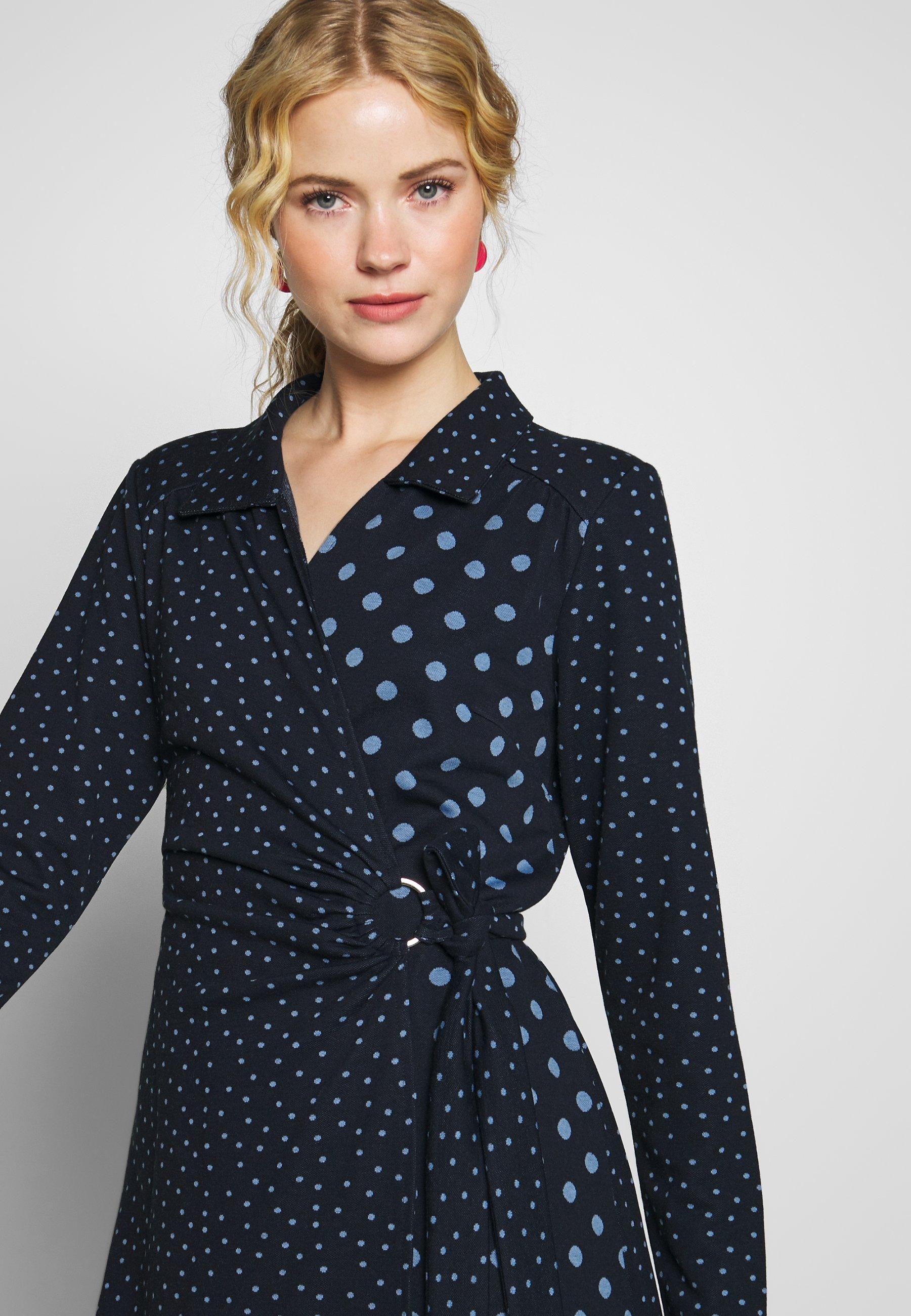 Cream SUEDA WRAP DRESS - Sukienka letnia - royal navy blue