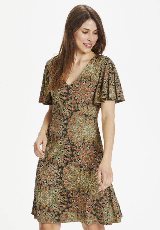 Sukienka z dżerseju - flower print w. army