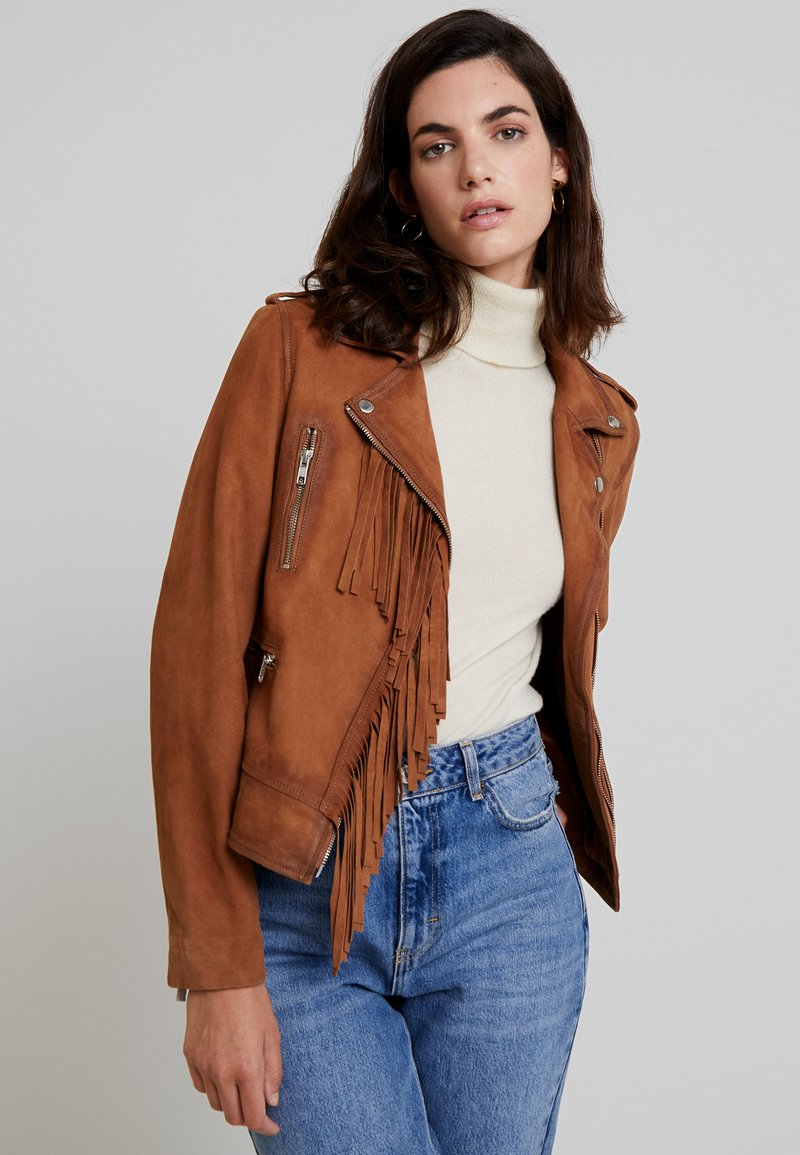 Cream - ROBINA BIKER JACKET - Leather jacket - soft camel