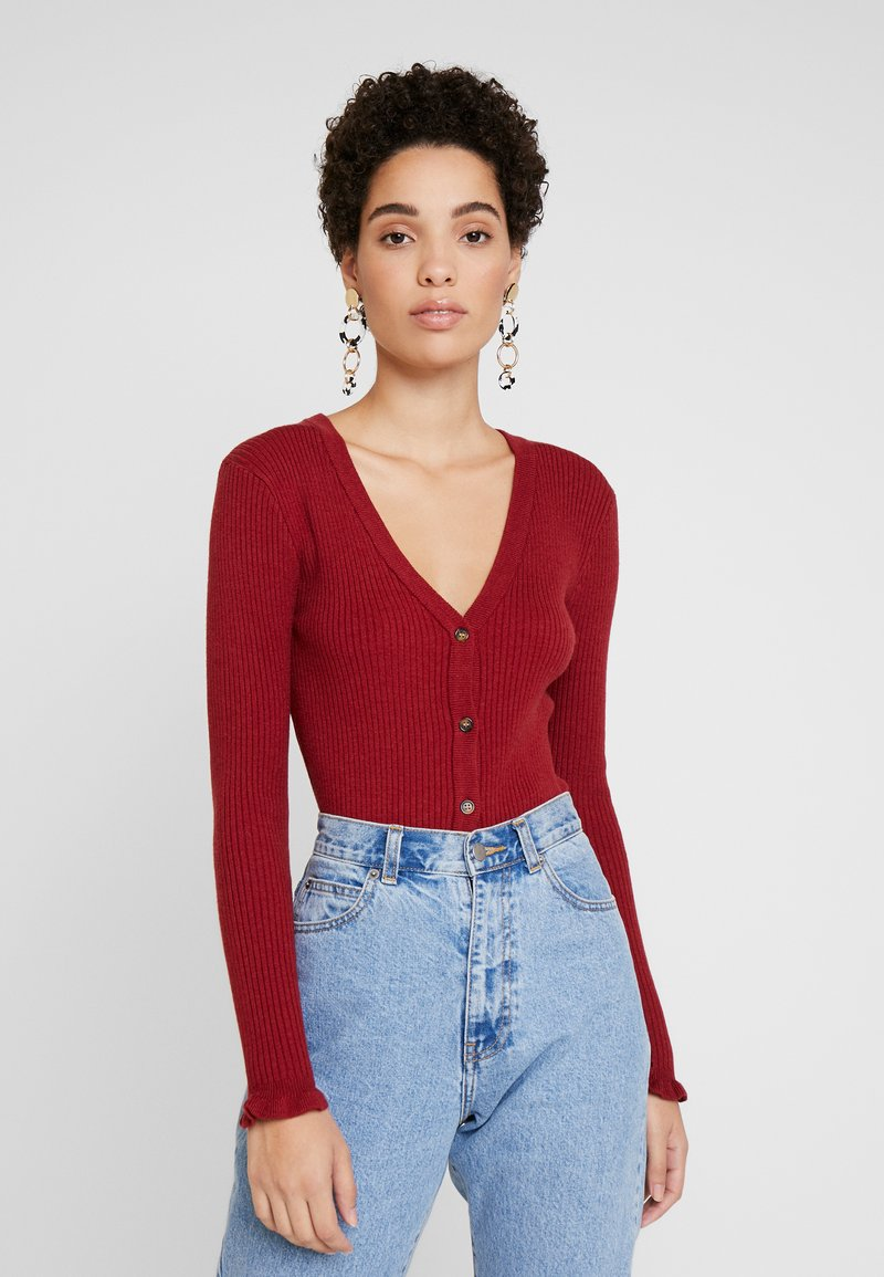 Cream - HELENA CARDIGAN - Cardigan - merlot red