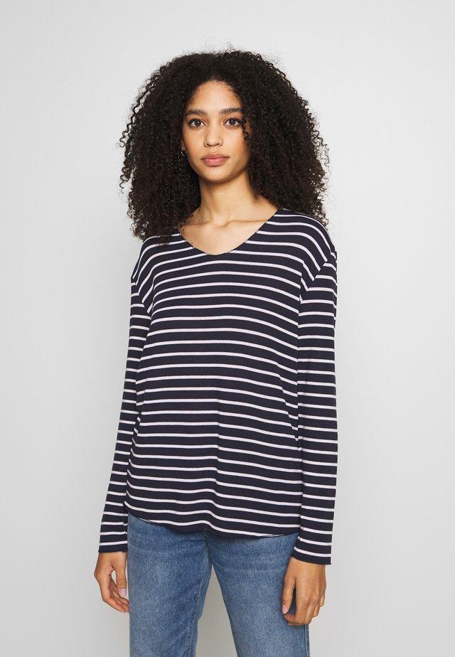 JONNA V NECK - Jersey de punto - royal navy blue/chalk stripe