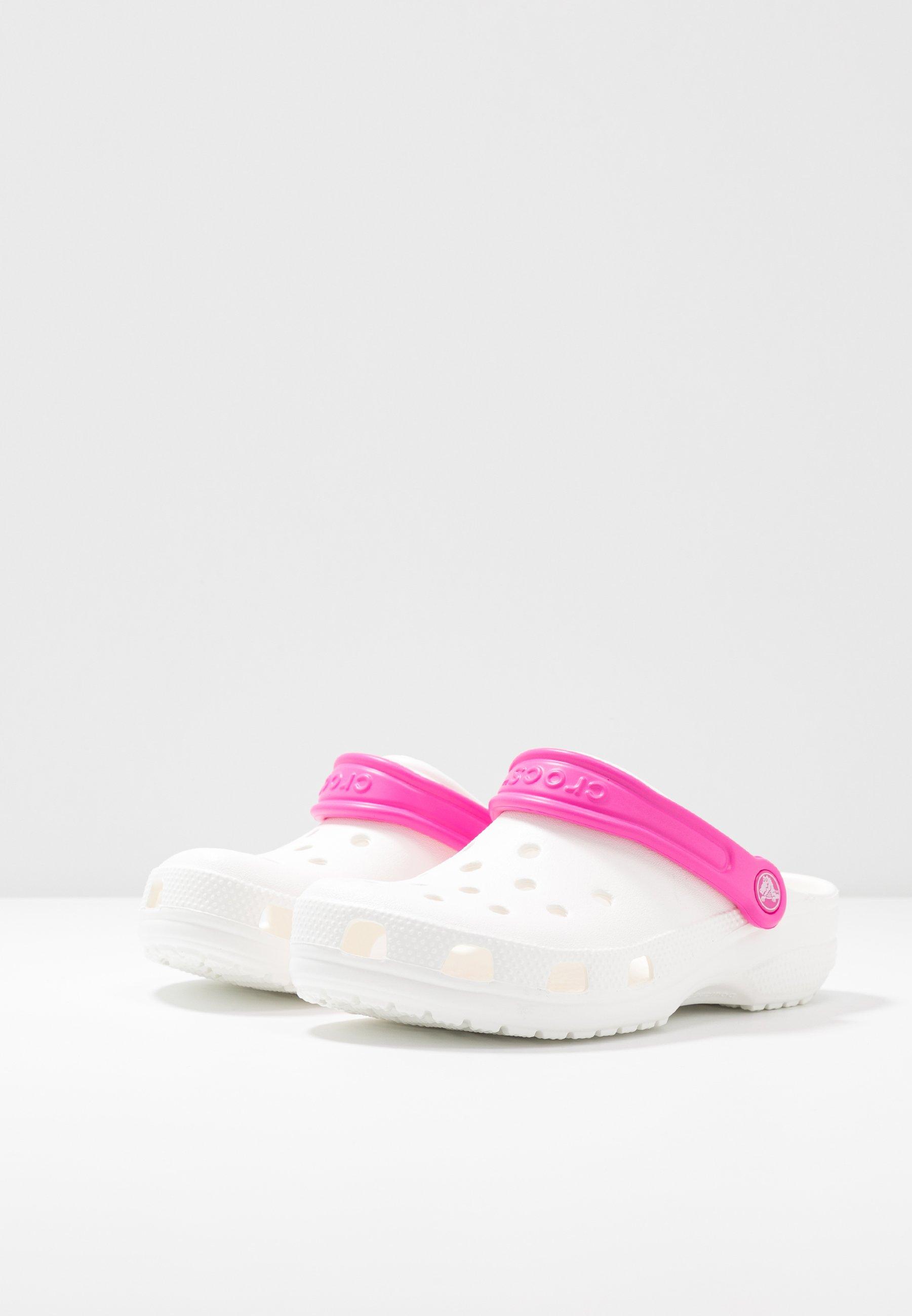 Crocs CLASSIC POP STRAP - Slip-ins - white/electric pink