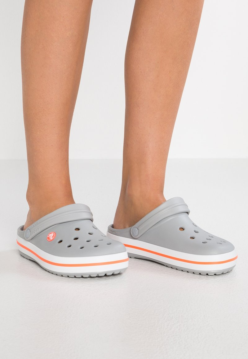 Crocs - CROCBAND - Mules - light grey/bright coral
