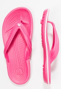 Crocs - CROCBAND FLIP - Teenslippers - paradise pink/white - 3