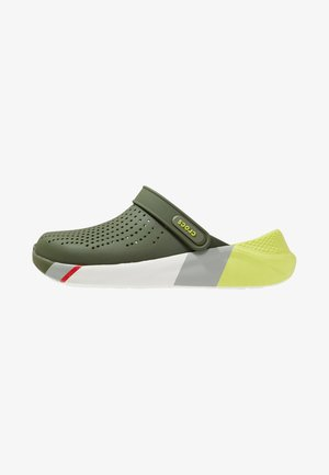 LITERIDE COLORBLOCK - Zuecos - army green/white