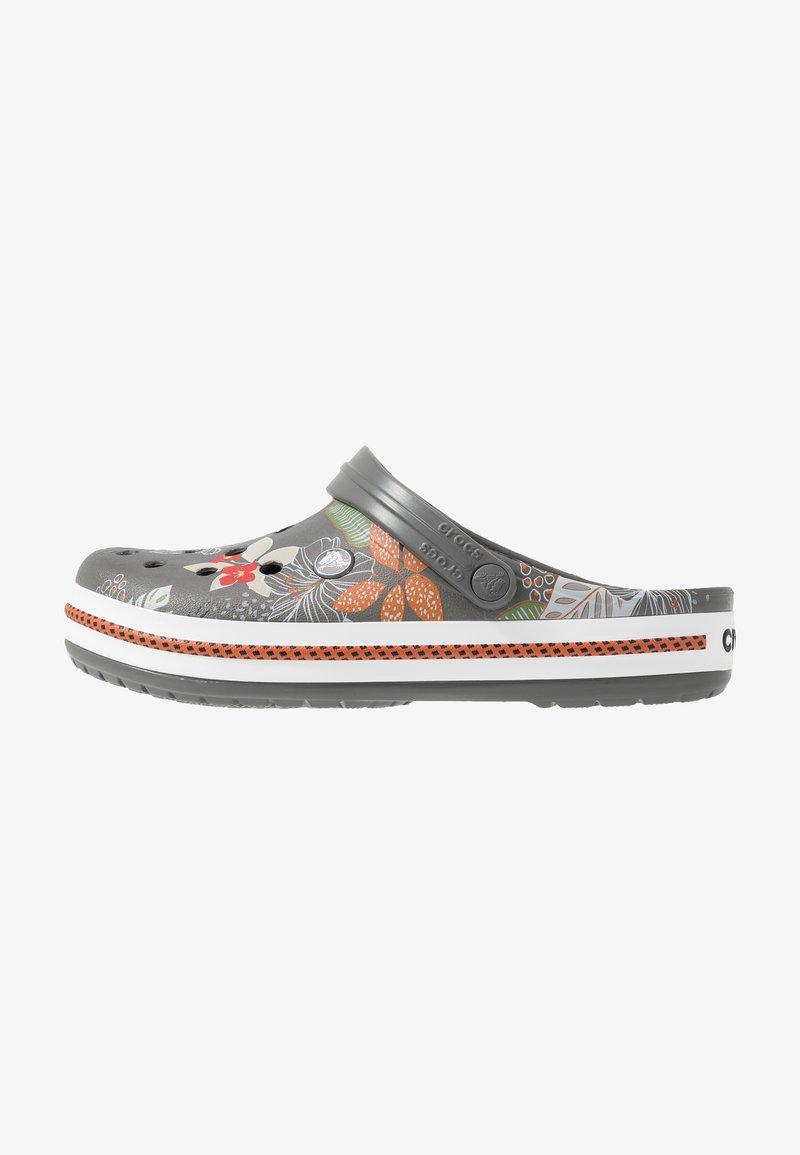Crocs - CROCBAND BOTANICAL PRINT - Clogs - slate grey/white