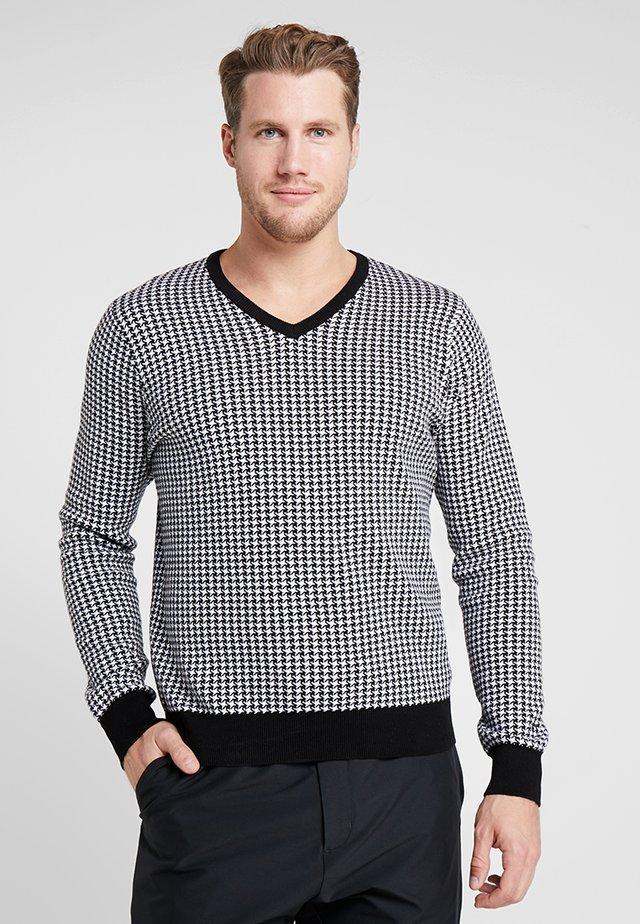 CLASSIC V NECK - Sweter - white/black pepita