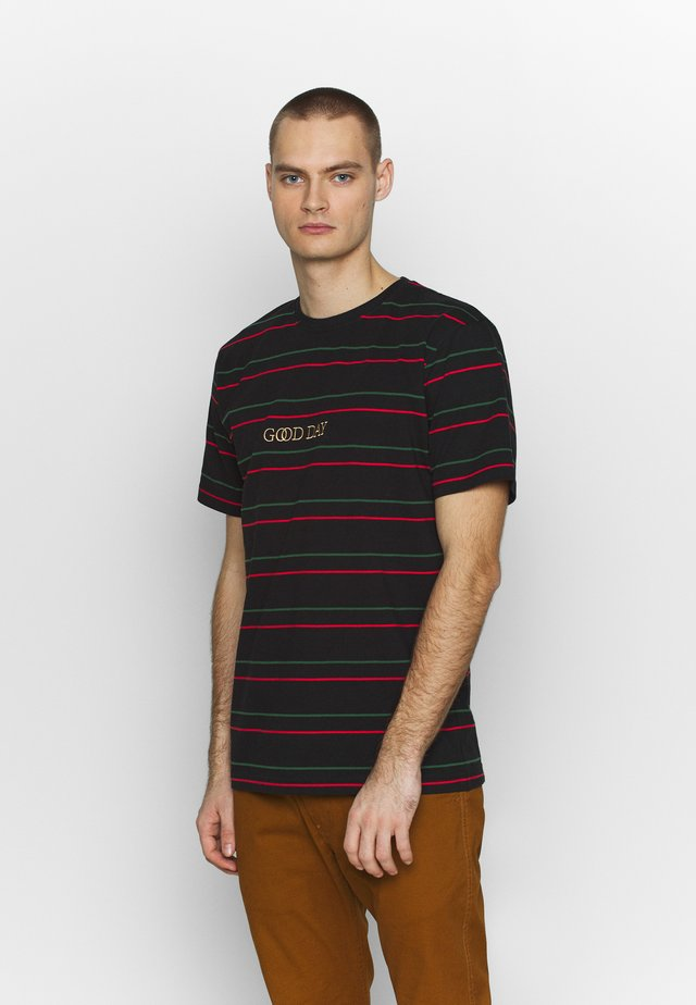 GOOD DAY STRIPE TEE - T-shirt imprimé - black