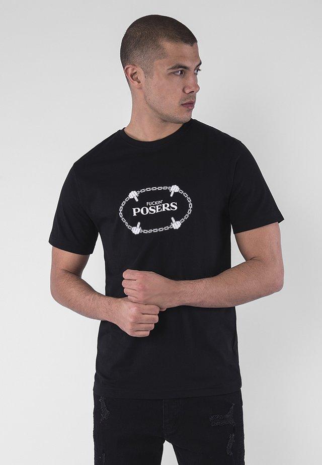 Print T-shirt - blk/wht