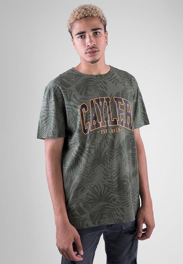 C&S WL PALMOUFLAGE TEE - T-shirt imprimé - olive/sunset