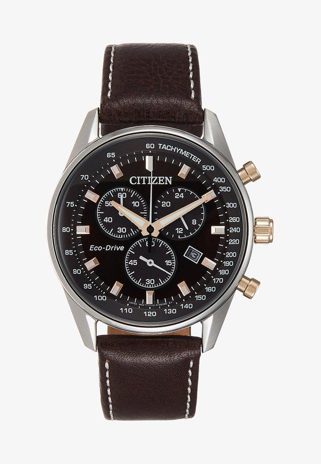 Chronograph watch - darkbrown/silver