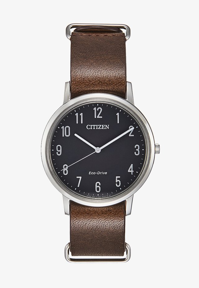 Watch - dark brown/silver-coloured