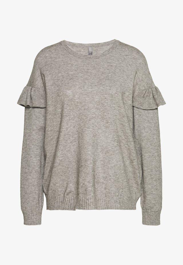 CUDARIN O NECK RUFFLE - Jersey de punto - grey melange