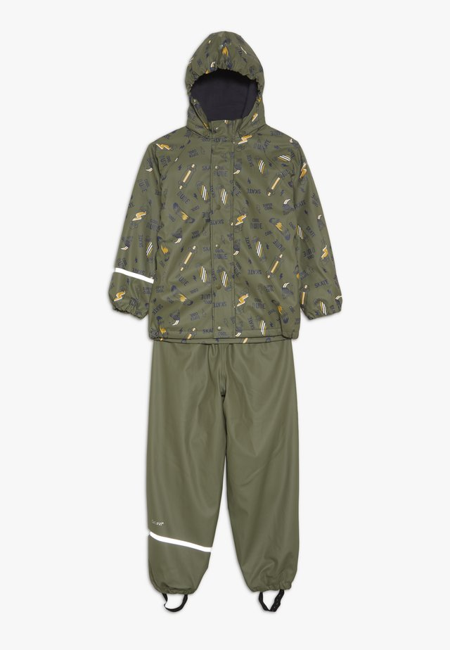 RAINWEAR SET - Rain trousers - army