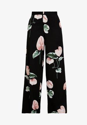 TROUSERS FREIDA - Spodnie materiałowe - black/pink