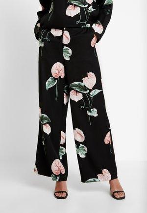 TROUSERS FREIDA - Trousers - black/pink