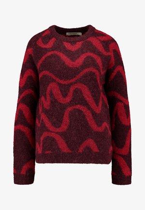 ESTON SWIRL - Stickad tröja - burgundy