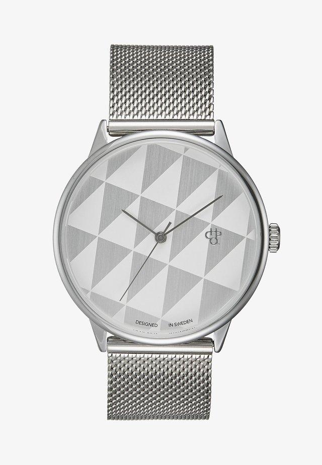 PLATTAN - Klokke - silver/white