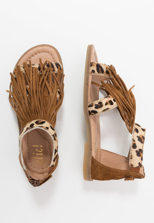 Sandals - beig/basket cognac