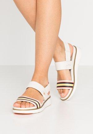 ZEROGRAND GLOBAL DOUBLE BAND - Korkeakorkoiset sandaalit - ivory/multicolor