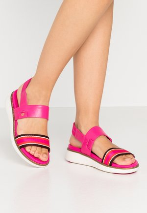 GLOBAL DOUBLE BAND  - Sandali con plateau - fuschia/purple/multicolor