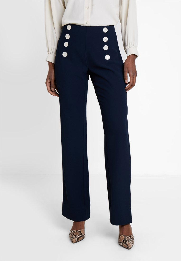 Cortefiel - WIDE LEG AND HIGH RISE TROUSERS WITH BUTTONED WAIST - Pantaloni - blues