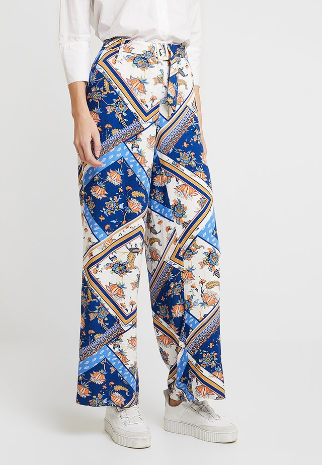 WIDE LEG PRINTED TROUSERS WITH BELT - Bukser - blues