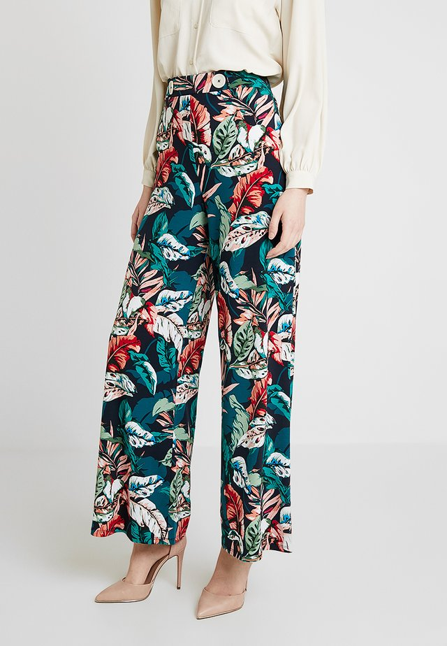 WIDE PRINTED TROUSERS - Pantalones - marine blue