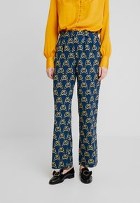 Cortefiel - PRINTED PAPERBAG STRAIGHT TROUSERS - Trousers - teal - 0