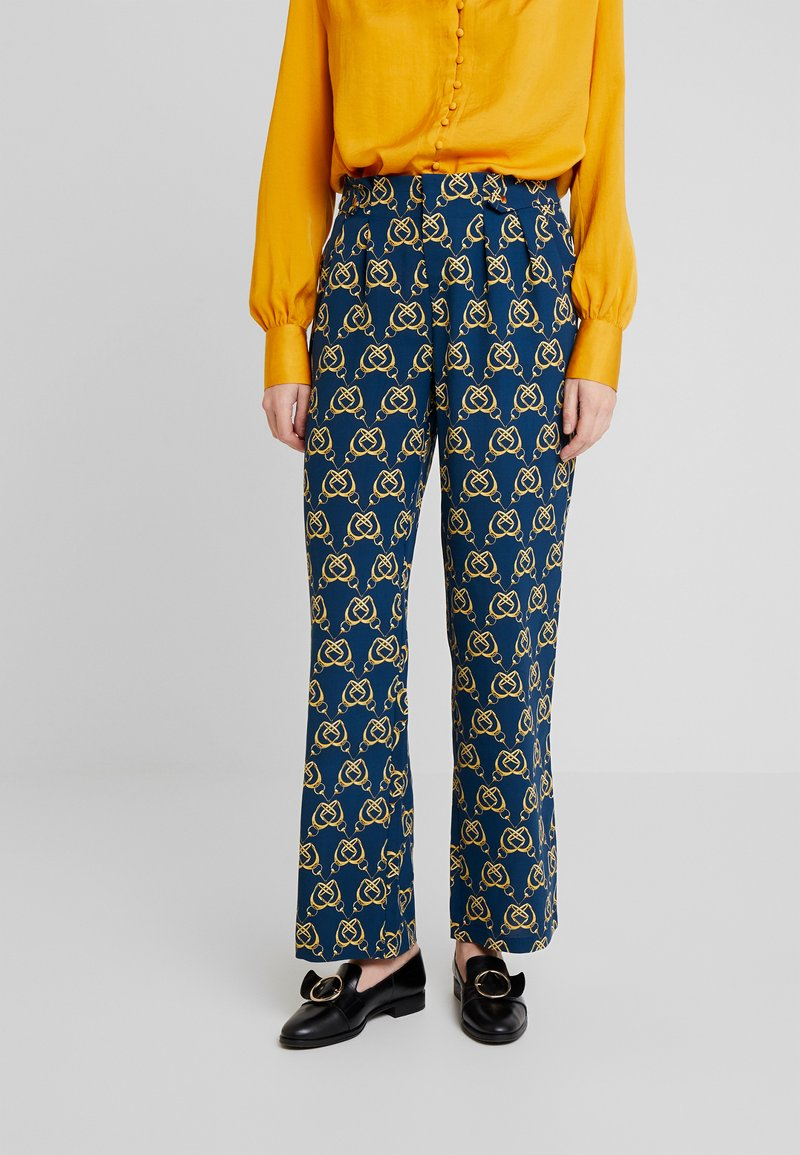 Cortefiel - PRINTED PAPERBAG STRAIGHT TROUSERS - Trousers - teal