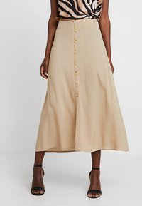Cortefiel - LONG SKIRT WITH FRONT BUTTONS - Gonna lunga - beige - 0