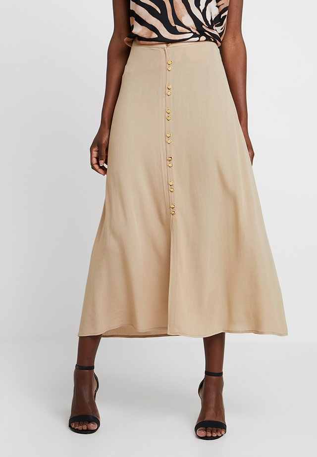 LONG SKIRT WITH FRONT BUTTONS - Maxikjol - beige