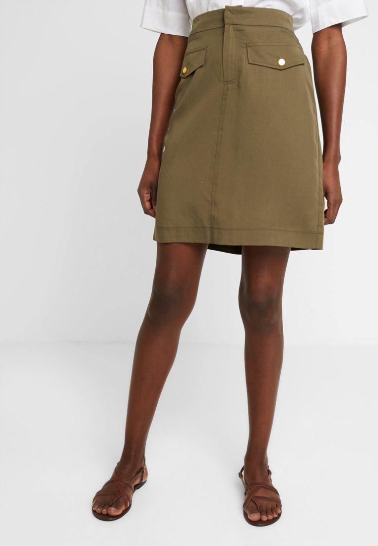 Cortefiel - PENCIL SKIRT WITH FRONT POCKETS - A-line skirt - greens