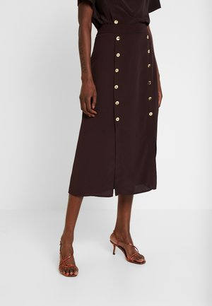 SKIRT WITH FRONT BUTTONS - Jupe trapèze - dark brown