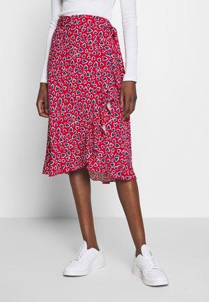 WRAP SKIRT - Áčková sukně - red