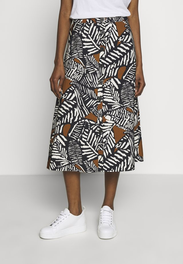 PRINTED MIDI SKIRT WITH BUTTONS - Falda acampanada - multicoloured