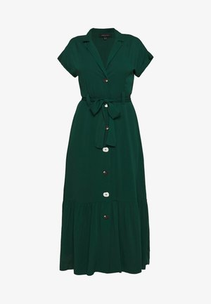 SHIRT STYLE MIDI DRESS WITH BELT - Košilové šaty - bottle