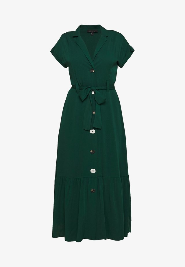 SHIRT STYLE MIDI DRESS WITH BELT - Blousejurk - bottle