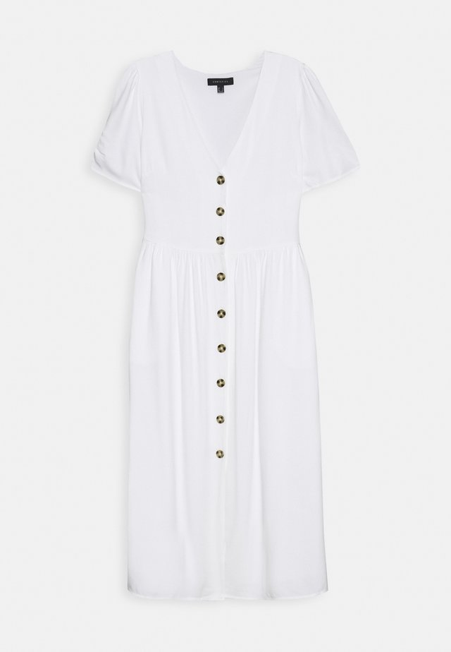 NECK BUTTONED MIDI DRESS - Vestido camisero - white