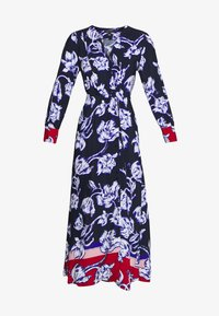 Cortefiel - PRINTED V-NECK LONG DRESS WITH CONTRAST AND CUFFS - Vestido largo - blue - 3