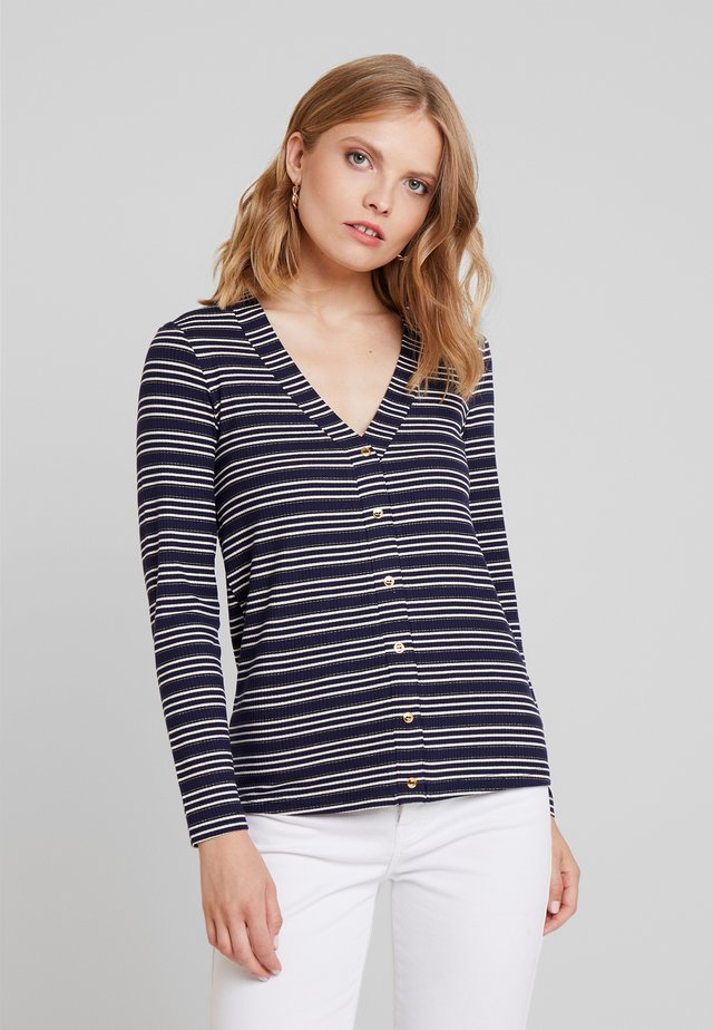 V-NECK STRIPED  - Jersey de punto - marine blue