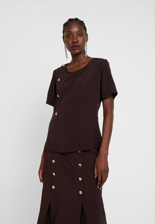 BLOUSE WITH SIDE BUTTONS DETAIL - Camicetta - dark brown