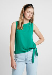 Cortefiel - SLEEVELESS WITH SIDE KNOT DETAIL IN HEM - Blusa - greens - 0