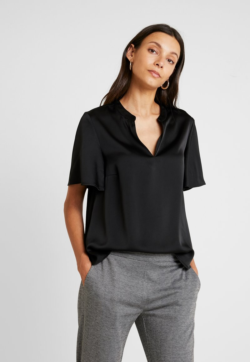 Cortefiel - V-NECK BLOUSE WITH FRILLED SLEEVES - Blusa - black