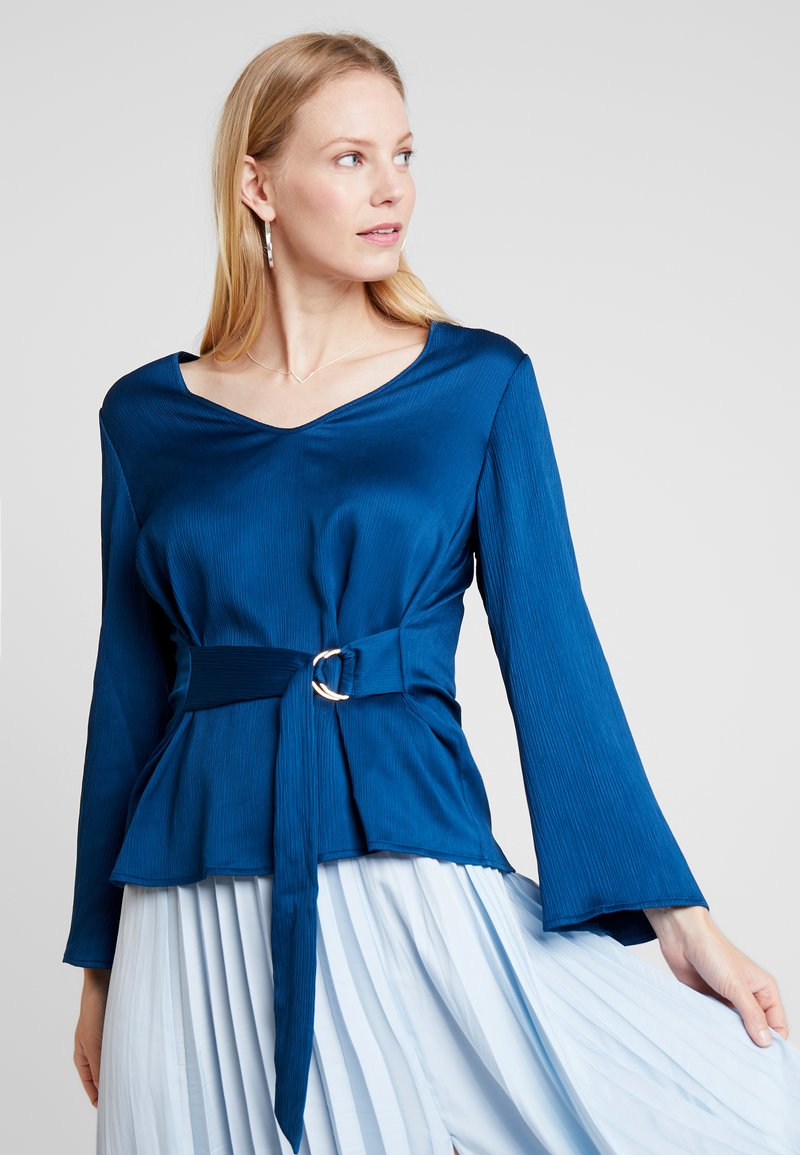 Cortefiel - BLOUSE WITH SIDE BOW DETAIL - Blouse - blues